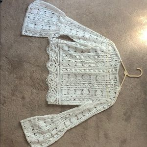 White lace bell sleeve top